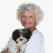 older woman and dog